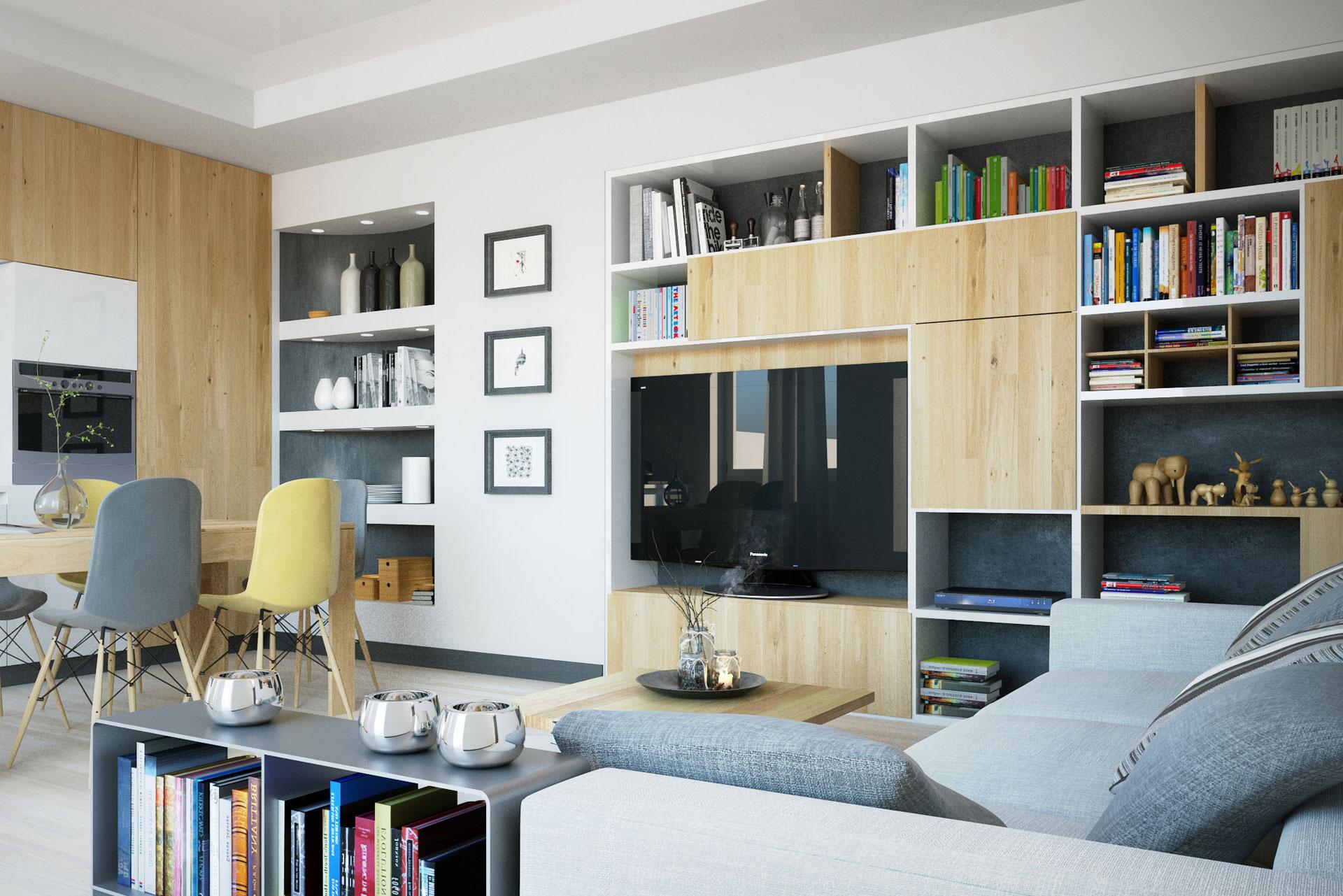 vista-soggiorno-cucina - Giuseppe Balzani Architetto